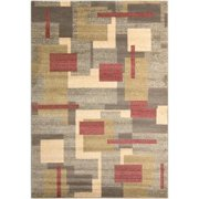 2' x 3.25' Weathered Abstractism Brushed Metal, Dusk, Faded Green and Dark Cherry Red Area Throw Rug