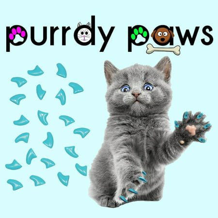 Soft Claws Nail Caps - 6 Month Supply - Purrdy Paws Sky Blue Soft Nail Caps for Kittens Claws - Extra Adhesives