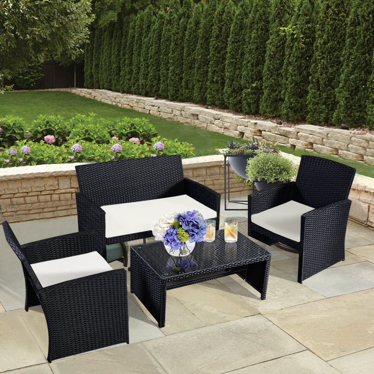 Costway 4 Pc Rattan Patio Furniture Set Garden Lawn Sofa Wicker Cushioned Seat Black by Costway