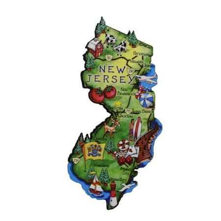 New Jersey State Artwood Jumbo Fridge Magnet Large Refrigerator Travel Souvenir ()