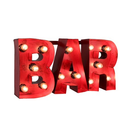 (Distressed Red Enamel Finish Metal Lighted Bar Sign)