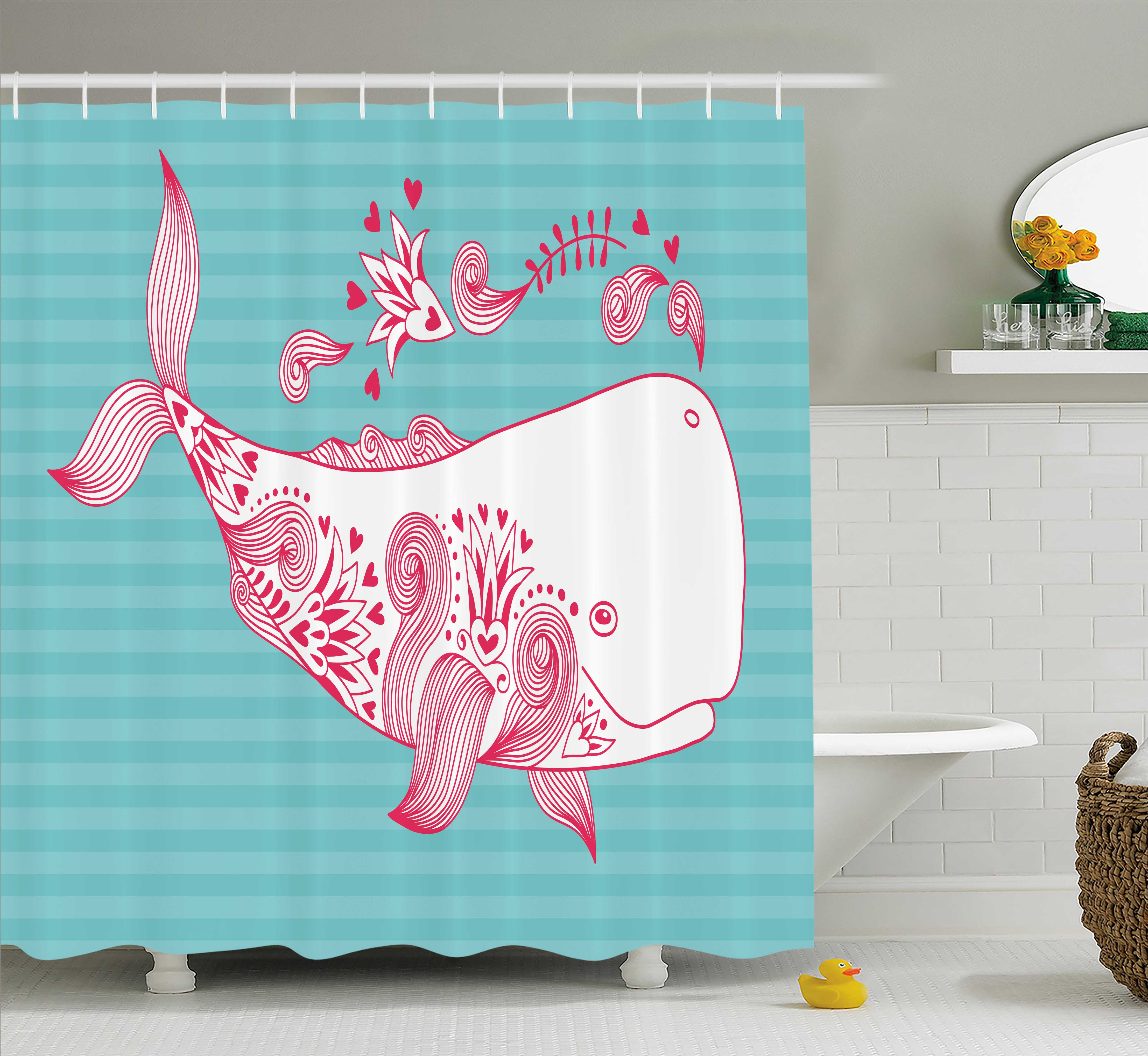 Whale Shower Curtain, Cute Big Fish Swimming and Floral Marine Animal Mammal Creature Themed Design, Fabric Bathroom Set with Hooks, 69W X 70L Inches, Teal Pink White, by Ambesonne