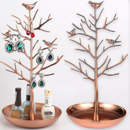 Jewelry Organizer Stand, Birds in Tree Jewelry Display , Holder Organizer for Necklaces, Bracelets and Earrings Earring Tree Box