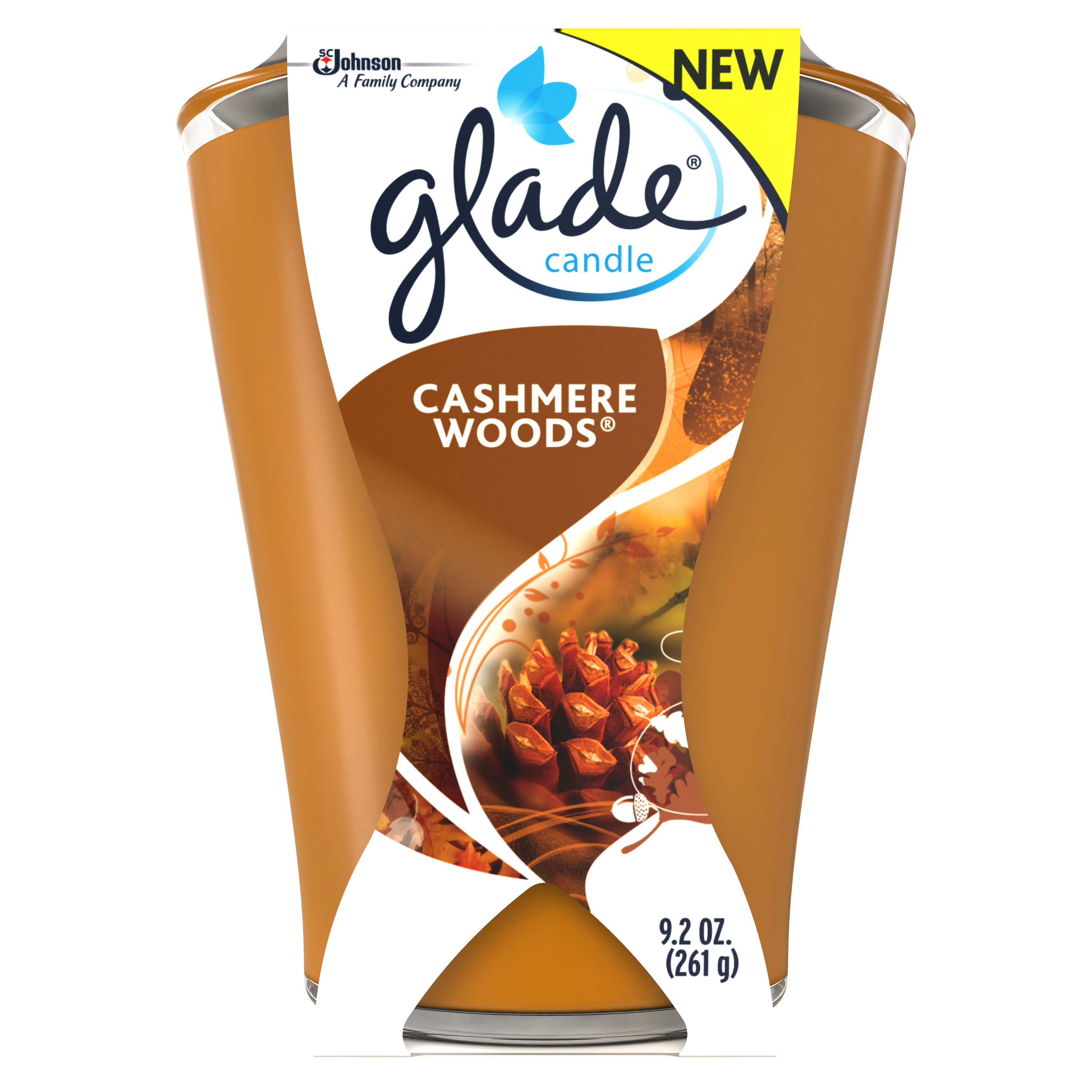Glade Candle Large Air Freshener, Cashmere Woods, 9.2 Ounces