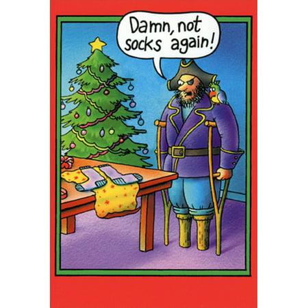 Nobleworks Pirate Peg Leg Socks Stan Eales Humorous / Funny Christmas Card - Pirate Socks
