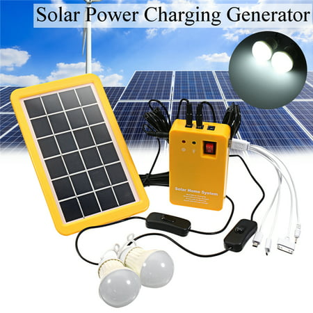 Solar Panel Lighting Kit, Solar Home DC System Kit Solar Generator, Solar  Charger with 2 LED Light Bulb as Emergency Light, USB Charging Cable with 4
