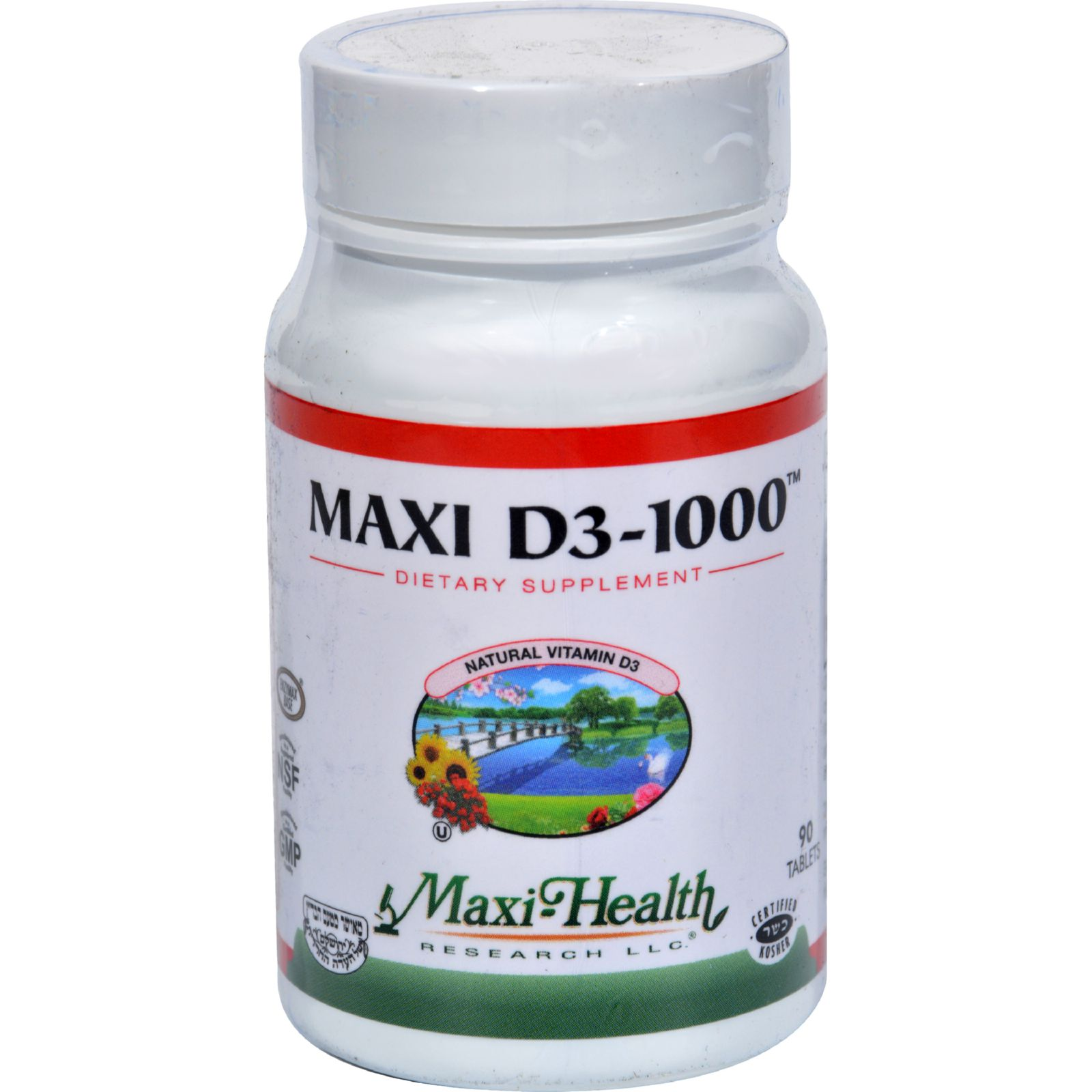 Maxi Health Kosher Vitamins Maxi D3 1000 - 1000 IU - 90 Tablets