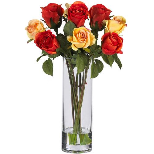 Roses with Glass Vase Silk Flower Arrangement