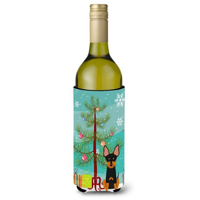 Carolines Treasures BB4234LITERK Merry Christmas Tree English Toy Terrier Wine Bottle Beverge Insulator Hugger - image 1 de 1