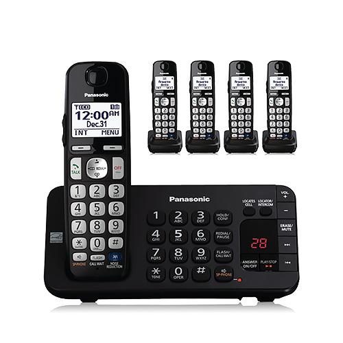 Panasonic KX-TGE245B Expandable Digital Cordless Answering System with 5 Handsets