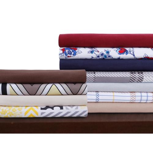 Luxury Deep Pocket Flannel Extra Deep Pocket Sheet Set with Oversize Flat Queen Sheet Set - Chevron Stripe