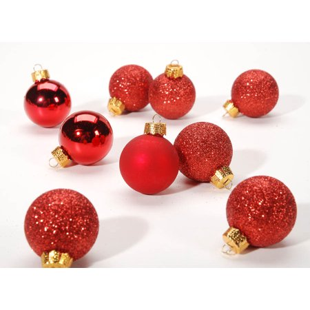 Miniature Red Balls Christmas Tree Ornaments Set of 9 30mm Glitter Matte Shiny ()