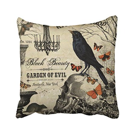 WinHome Modern Vintage Halloween Crow And Skull Throw Pillow Covers Cushion Cover Case 20x20 Inches Pillowcases Two Side](Outdoor Halloween Pillows)