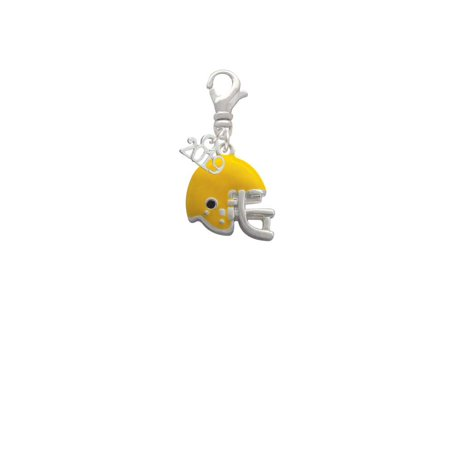 Small Cut Out Football Charm - Silvertone Small Yellow Football Helmet - 2019 Clip on Charm