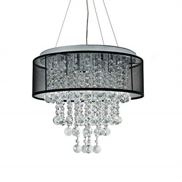Light Crystal Chandelier, Black Chrome Crystal Chandelier