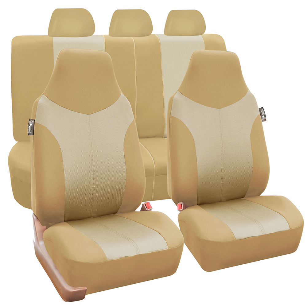 FH Group Side Airbag Compatible, with Split Bench Function Supreme Twill Seat Covers, Full Set, Beige and Tan
