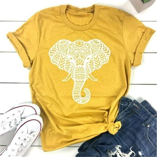 Women Elephant Print Shirts Round Neck Graphic