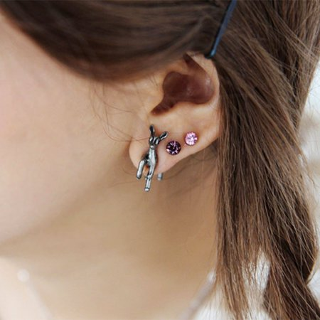 SEXY SPARKLES Sexy Sparkles Deer Animal 3D Double Sided Ear Stud Earrings for Women