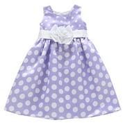 Little Girls Purple White Polka Dot Pattern Satin Bow Flower Girl Dress 3T-7