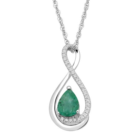 0.25 Ct Diamond Necklace (5/8 ct Natural Emerald Pendant Necklace with Diamonds in Sterling Silver )
