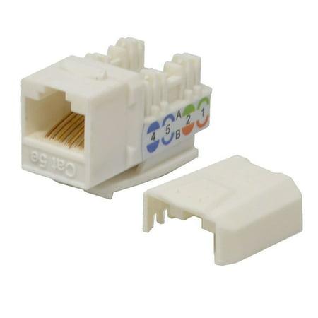 5 pack lot Keystone Jack Cat5e White Network Ethernet 110 Punchdown -