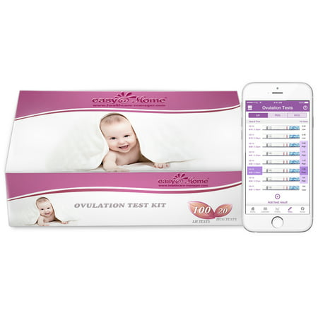 Easy@Home 100 Ovulation Test and 20 Pregnancy Test Strips, Ovulation Test Kit Powered by Premom Ovulation Predictor APP, Simplest Ovulation and Period Tracking with Free iOS&Android APP,100LH