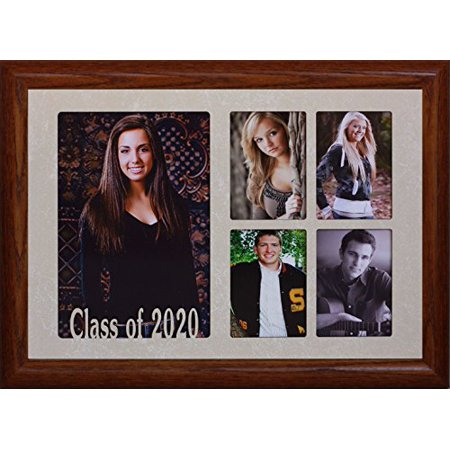 7X10 Class Of 2020 5-Opening Collage Portrait Picture Frame ~ Laser Cut Cream Marbled Matboard With Hardwood Frame ~ Wonderful Graduation Gift Idea! (Fruitwood)