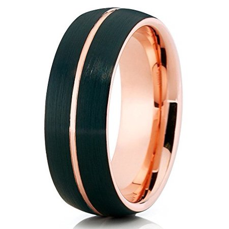 Tungsten Wedding Band Brushed black Tungsten Ring 18K Rose Gold Tungsten Carbide Dome Shape Comfort Fit Men Women