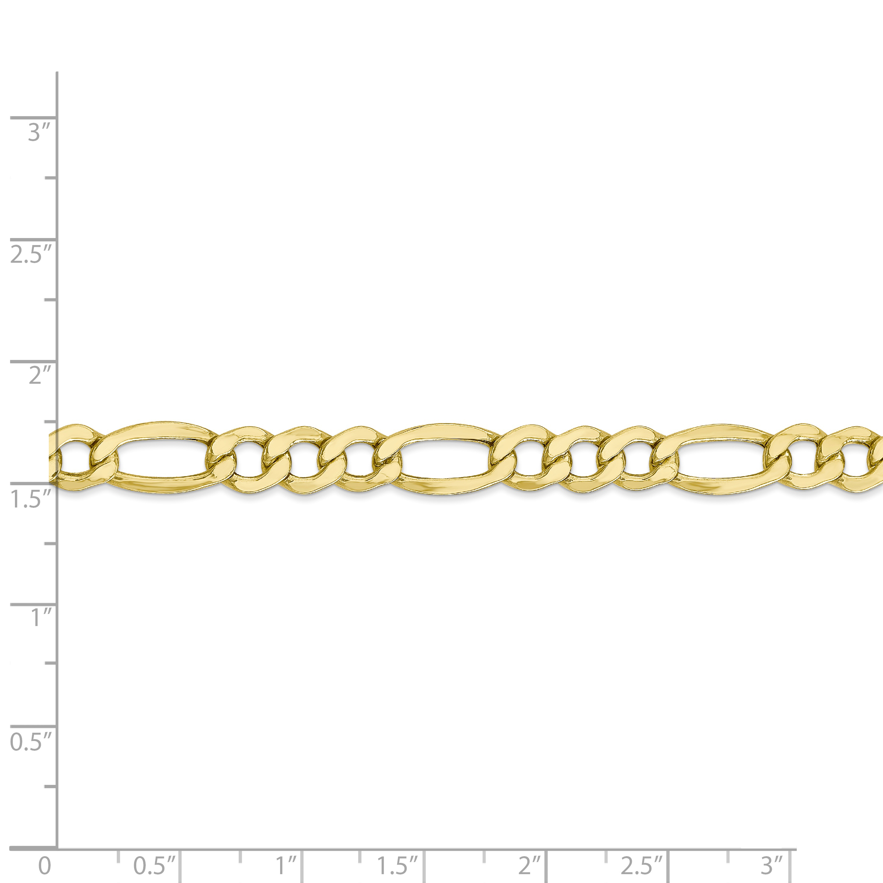 10K Yellow Gold 7.3mm Semi-Solid Figaro Chain 24 IN - image 4 of 5