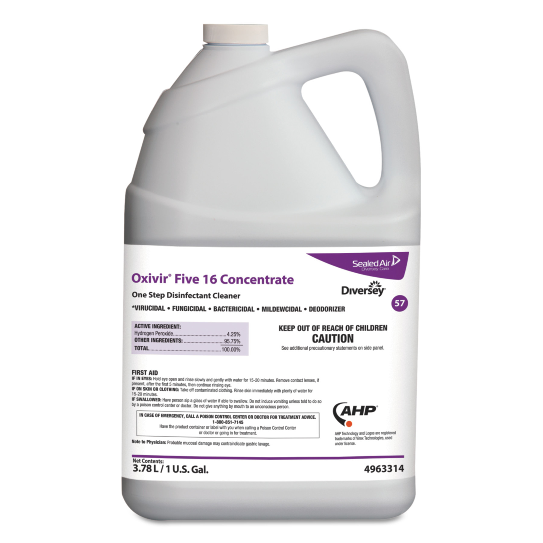 Oxivir Five 16 One-Step Disinfectant Cleaner, 1gal Bottle, 4/Carton