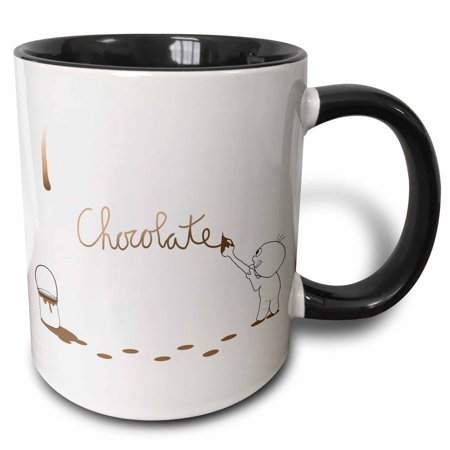 3dRose Cute Drip Guy Writing Chocolate with Brush and Fake Brown Chocolate Paint Droplet - fun faux stain - Two Tone Black Mug, 11-ounce