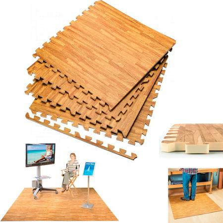 Interlocking Wood Effect Mats Eva Soft Foam Exercise Floor Gym Office Mat