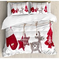 Christmas Duvet Cover Set, Traditional Xmas Celebration Items Hanging from Rope with Clothespins Retro, Decorative Bedding Set with Pillow Shams, Red Cream Tan, by Ambesonne