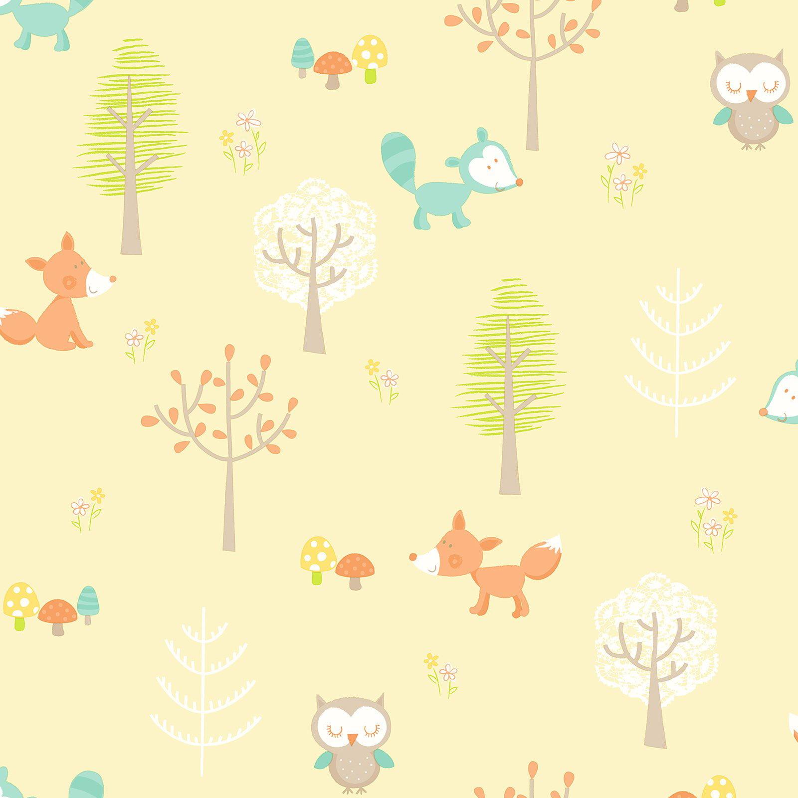 Brewster Forest Friends Yellow Animal Wallpaper