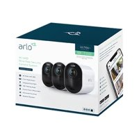 Arlo Ultra 4K HDR Security Camera System VMS5340 - 3 Wire-Free Rechargeable Battery Cameras with Color Night Vision, Auto-Zoom, Weather-Resistant, Smart Siren and One Year of Arlo Smart