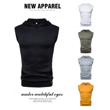 Summer Solid Color Shirt Top Fashion Comfortable Hooded Sleeveless T-Shirt - image 2 of 4
