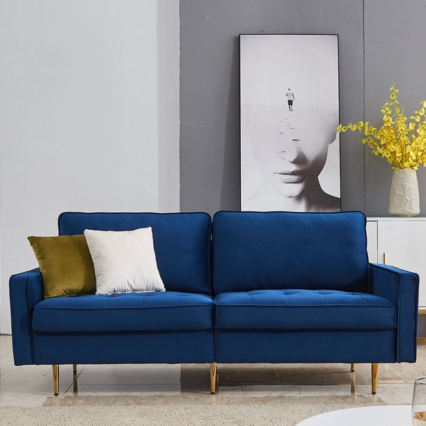 Blue Sofas For Living Room Mid Century Modern Fabric Sofa For Small Spaces Upholstered Sofas With Solid Wood Frame And 2 Throw Pillows Velvet Loveseat Sofa Forroom Office 71 W L3884 Walmart Com