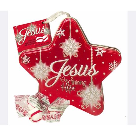 Peppermint Candy Tree - Candy-Jesus Our Shining Hope-Soft Peppermint In Red Star Tin (3.5 Oz)