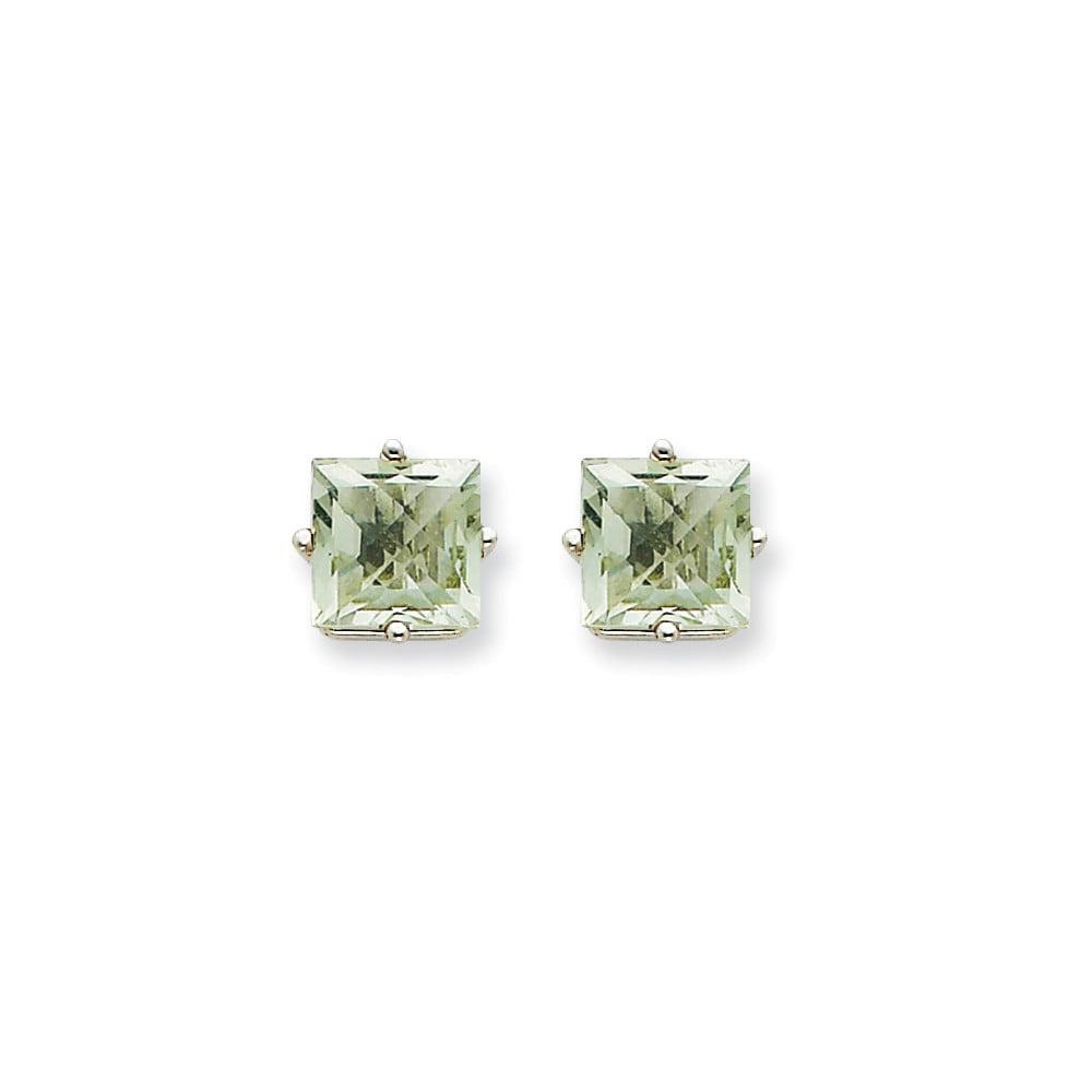 14k White Gold 7mm Square Green Amethyst Earrings. Gem Wt- 3.04ct
