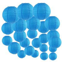Just Artifacts Decorative Round Chinese Paper Lanterns 24pcs Assorted Sizes (Color: Blue)