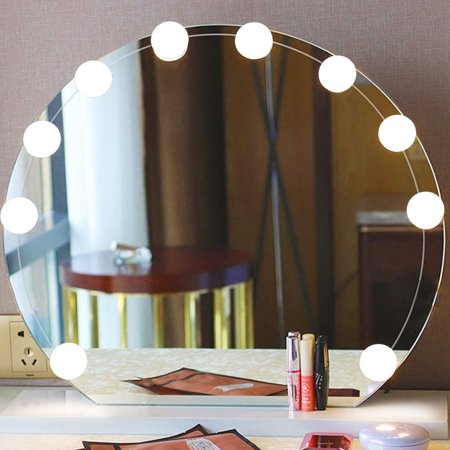 ANGGREK Hollywood Style Vanity Mirror Lights Kit with 10 Led Dimmable Bulbs, Makeup Mirror Lighting Fixture for Bathroom Dressing Room Table