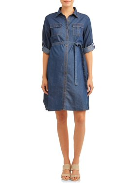 Maternity Denim Button Up Shirt Dress with Tie Front-Plus