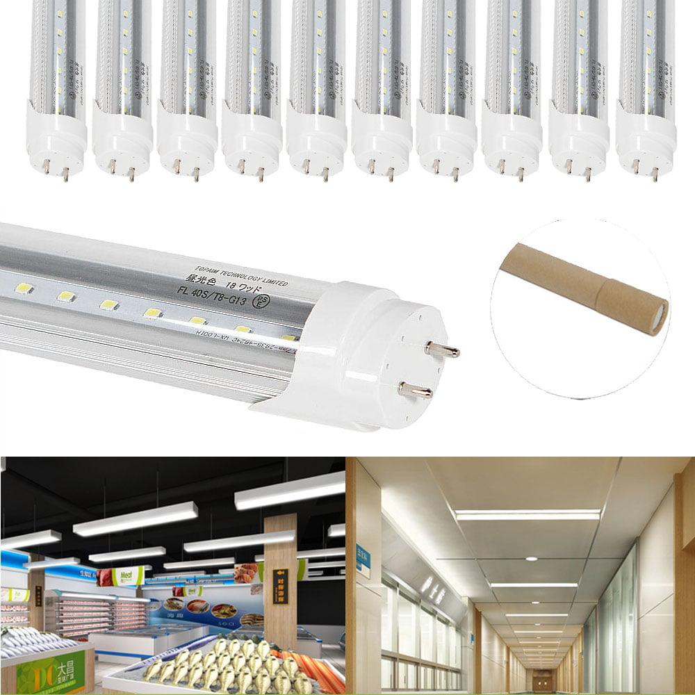 Zimtown 10-PACK T8 G13 18W 4FT LED Tube Light Shop Light, Warm White,Clear Cover,AC85-265V