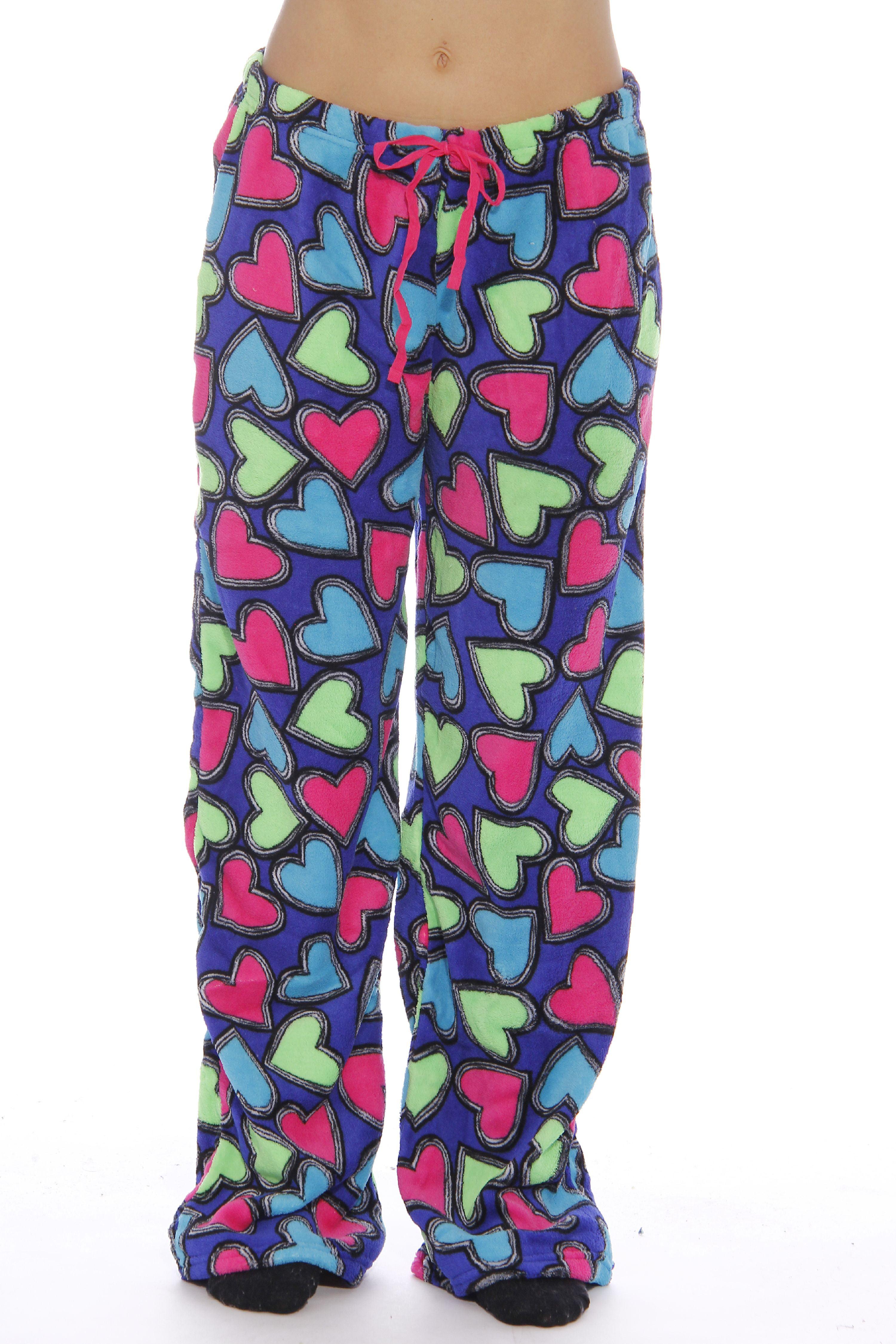 fe8b7dec93 Just Love Women s Plush Pajama Pants - Petite to Plus Size Pajamas (Party  Hearts