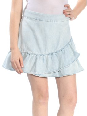 1. STATE Womens Blue Ruffled Above The Knee Layered Skirt  Size: 10