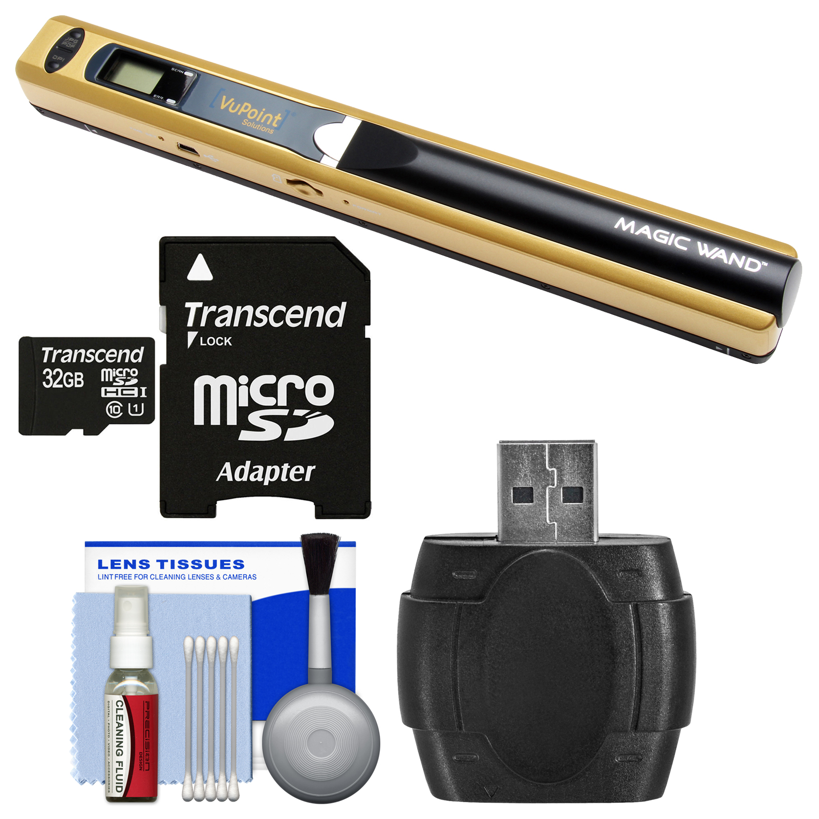 VuPoint Magic Wand Portable Photo & Document Scanner (Metallic Gold) with 32GB Card & Reader + Kit