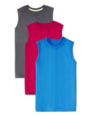 Fruit of the Loom Soft Sleeveless Muscle Shirts, Multi-Color 3 Pack Value Set (Little Boys & Big Boys)