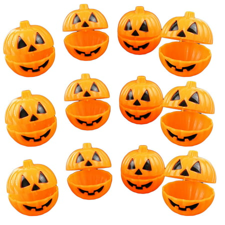 12pcs Plastic Pumpkin Shaped Storage Box Case Container Halloween Mini Gift Holder Props - Hollowen Store