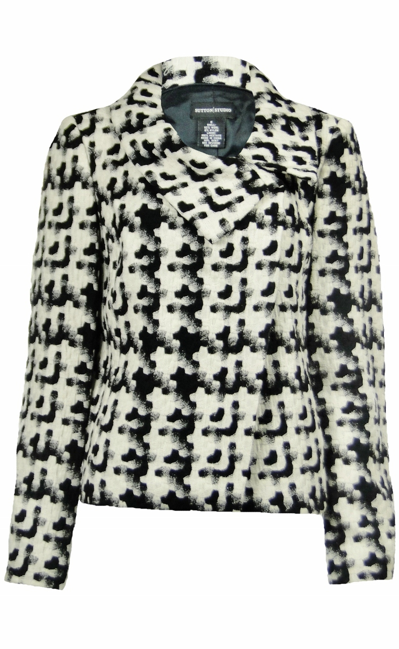 Sutton Studio Womens Wool Blend Snap Front Jacket Black & White by