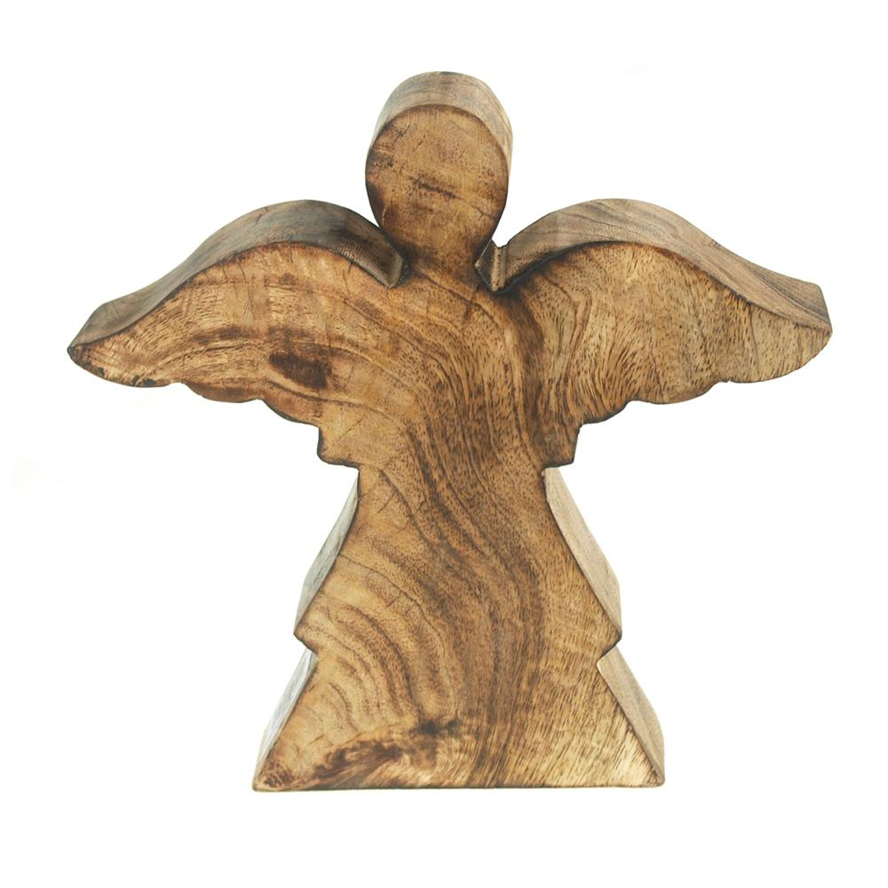 Christmas Flying Angel Wooden Stand, Natural, 8.4-Inch